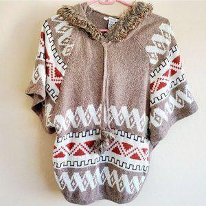 American rag hoodie poncho Aztec print